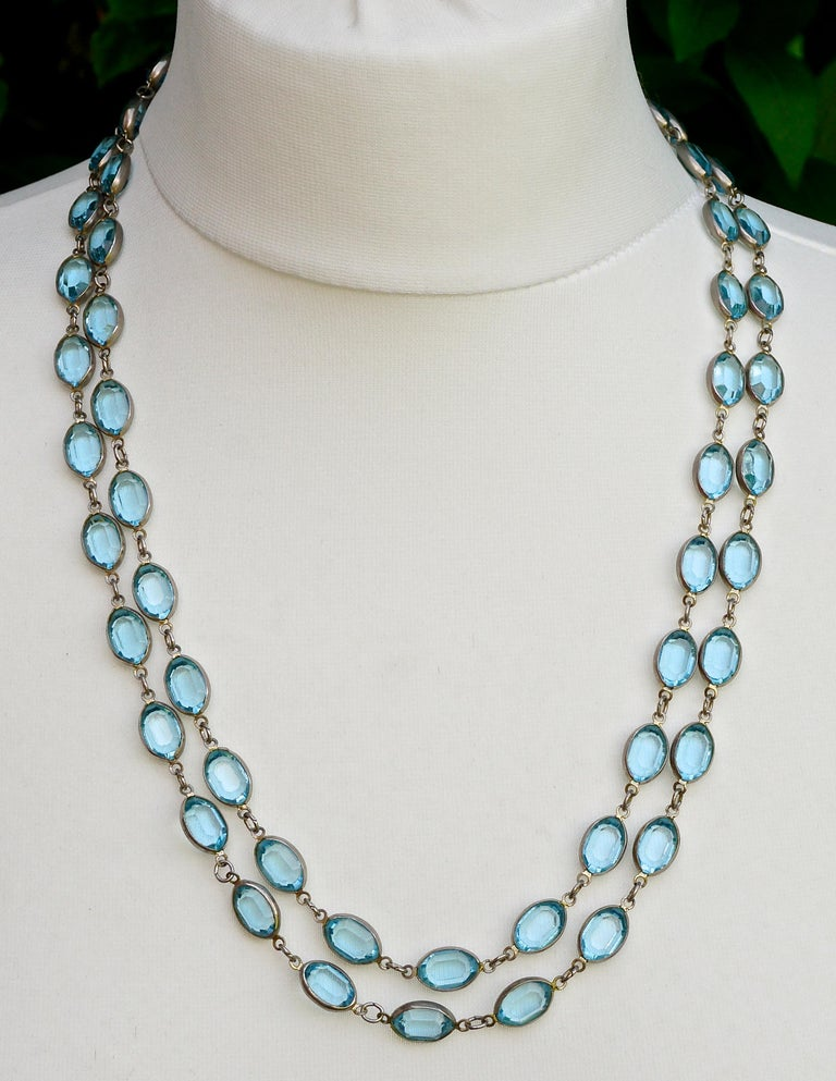 Long Silver Tone and Bezel Set Open Back Oval Blue Glass Link Necklace For Sale 2
