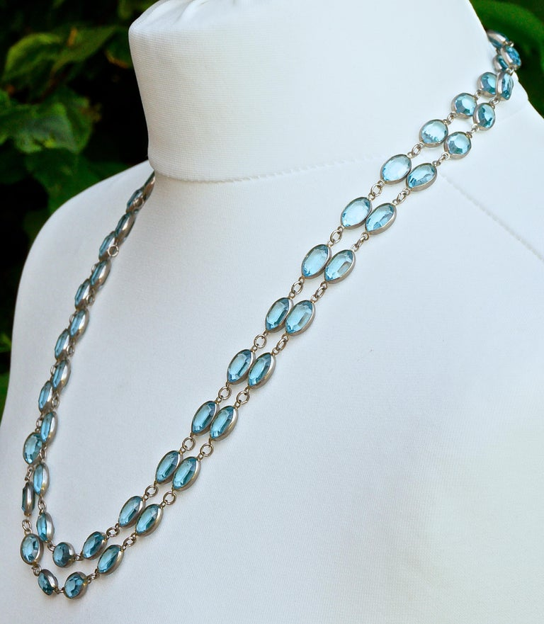 Long Silver Tone and Bezel Set Open Back Oval Blue Glass Link Necklace For Sale 3