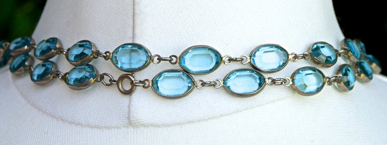 Long Silver Tone and Bezel Set Open Back Oval Blue Glass Link Necklace For Sale 4
