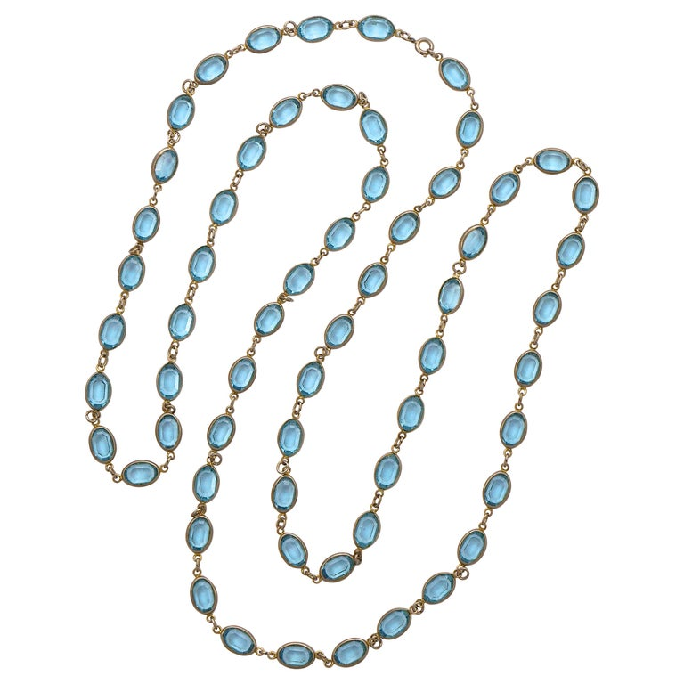 Long Silver Tone and Bezel Set Open Back Oval Blue Glass Link Necklace For Sale