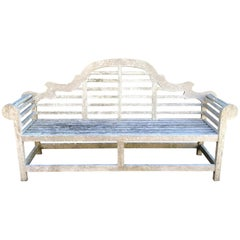Long Silvered English Lutyens-Style Bench in Teak