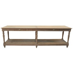 Long Solid Oak 2-Drawer and 6 Turned Legs Drapers Table