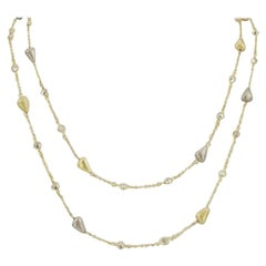 Long Sparkling Faux Diamond and 2-Tone Free Form Beads Sterling Silver Necklace