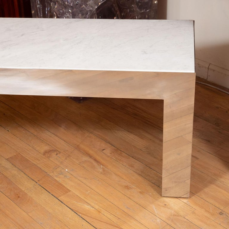Mid-Century Modern Long Stainless Steel Bench/Table with Stone Top For Sale