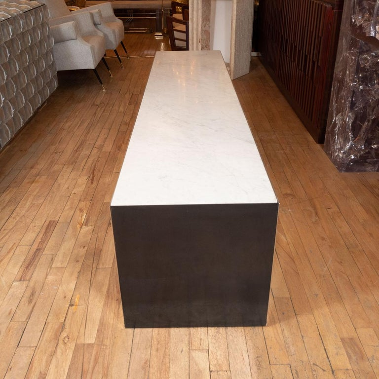 Italian Long Stainless Steel Bench/Table with Stone Top For Sale