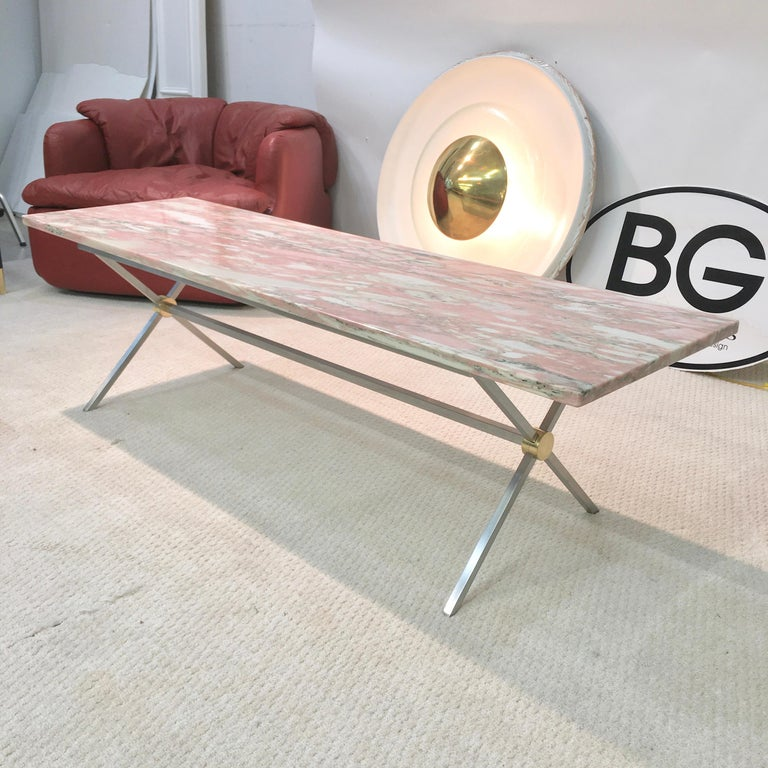 Mid-Century Modern Long Stainless Steel and Brass X-Base Cocktail Table with Norwegian Rose Marble For Sale