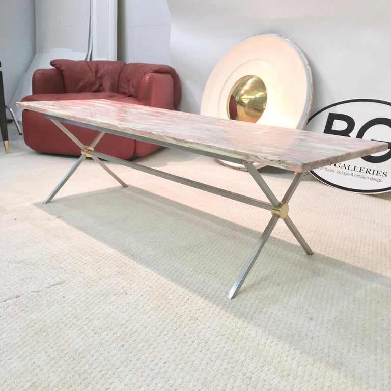 Italian Long Stainless Steel and Brass X-Base Cocktail Table with Norwegian Rose Marble For Sale
