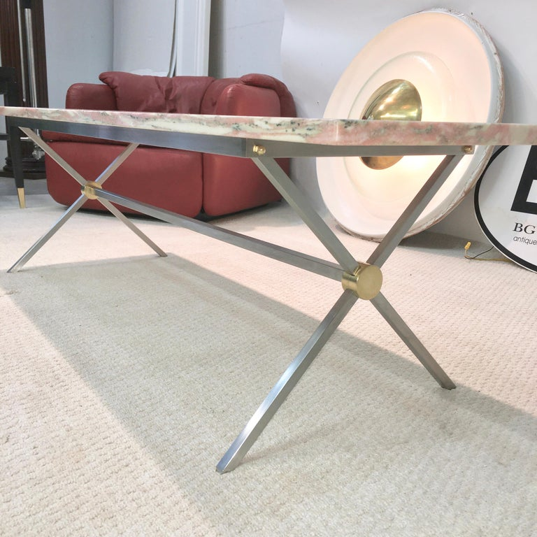 Long Stainless Steel and Brass X-Base Cocktail Table with Norwegian Rose Marble In Good Condition For Sale In Hingham, MA
