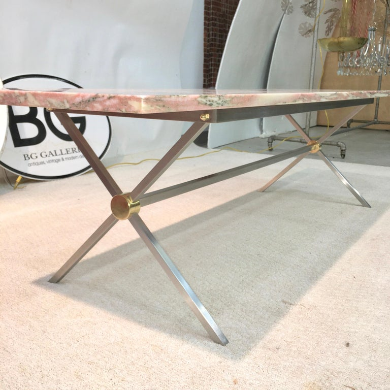 Mid-20th Century Long Stainless Steel and Brass X-Base Cocktail Table with Norwegian Rose Marble For Sale
