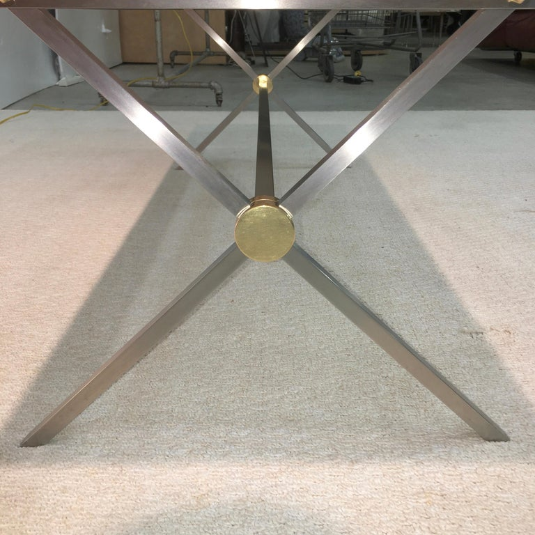 Long Stainless Steel and Brass X-Base Cocktail Table with Norwegian Rose Marble For Sale 1