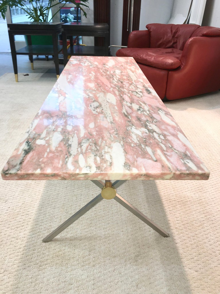 Long Stainless Steel and Brass X-Base Cocktail Table with Norwegian Rose Marble For Sale 3