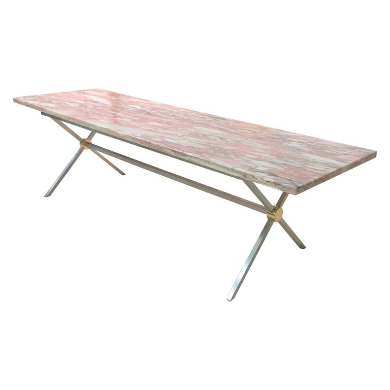 Long Stainless Steel and Brass X-Base Cocktail Table with Norwegian Rose Marble For Sale