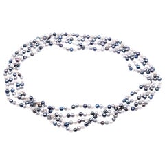 Long Strand of Black and White Cultured Freshwater Pearl Necklace