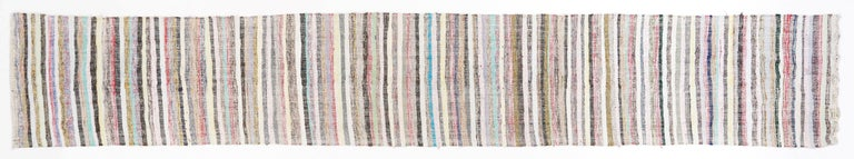 Hand-Woven Long Striped Cotton Kilim Runner For Sale