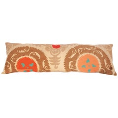 Long Suzani Pillow Case Fashioned from a Vintage Uzbek Suzani, 1960s