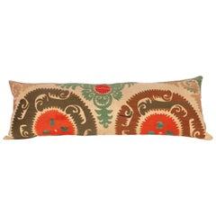 Long Suzani Pillow Case Fashioned from a Vintage Uzbek Suzani, 1960s