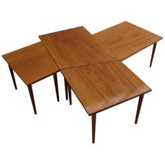 Long Teak Coffee Table Set of 4 Nest of Tables Scandinavian Midcentury, 1960s