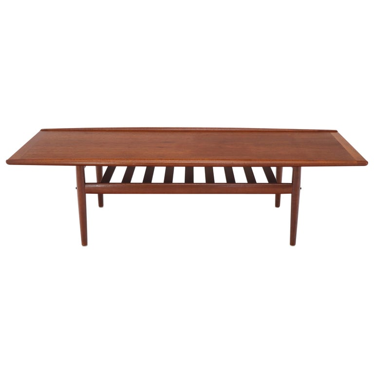 Long Teak Danish Mid-Century Modern Coffee Table with ...