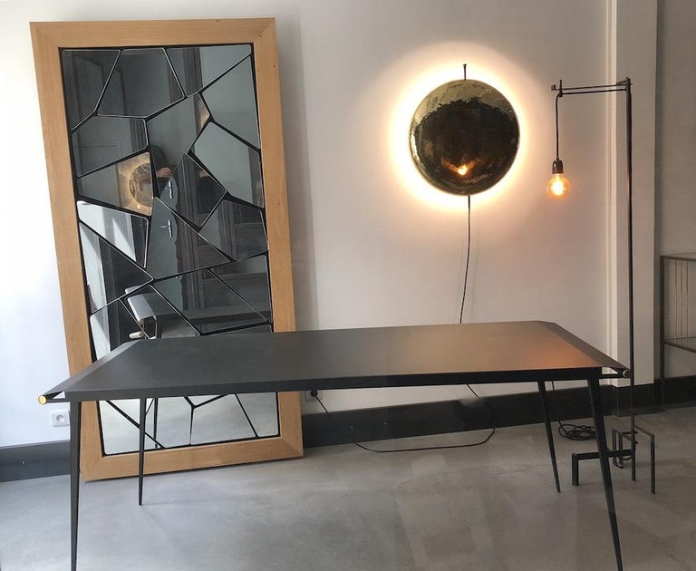 Long Textured Steel Table '' So'L '' by Alexandre Taveau In Good Condition For Sale In saint ouen, FR