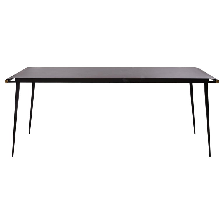 Long Textured Steel Table '' So'L '' by Alexandre Taveau For Sale
