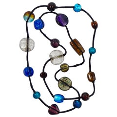 Long Tibetan Hand Made Foiled Glass Beads and Black Thread Necklace