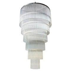 Long Tiered Glass Rod Chandelier with Chrome Frame