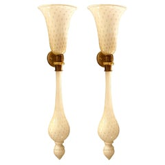Long Torchiere White & Gold Murano Glass Sconces Mid-Century Modern Venini Style