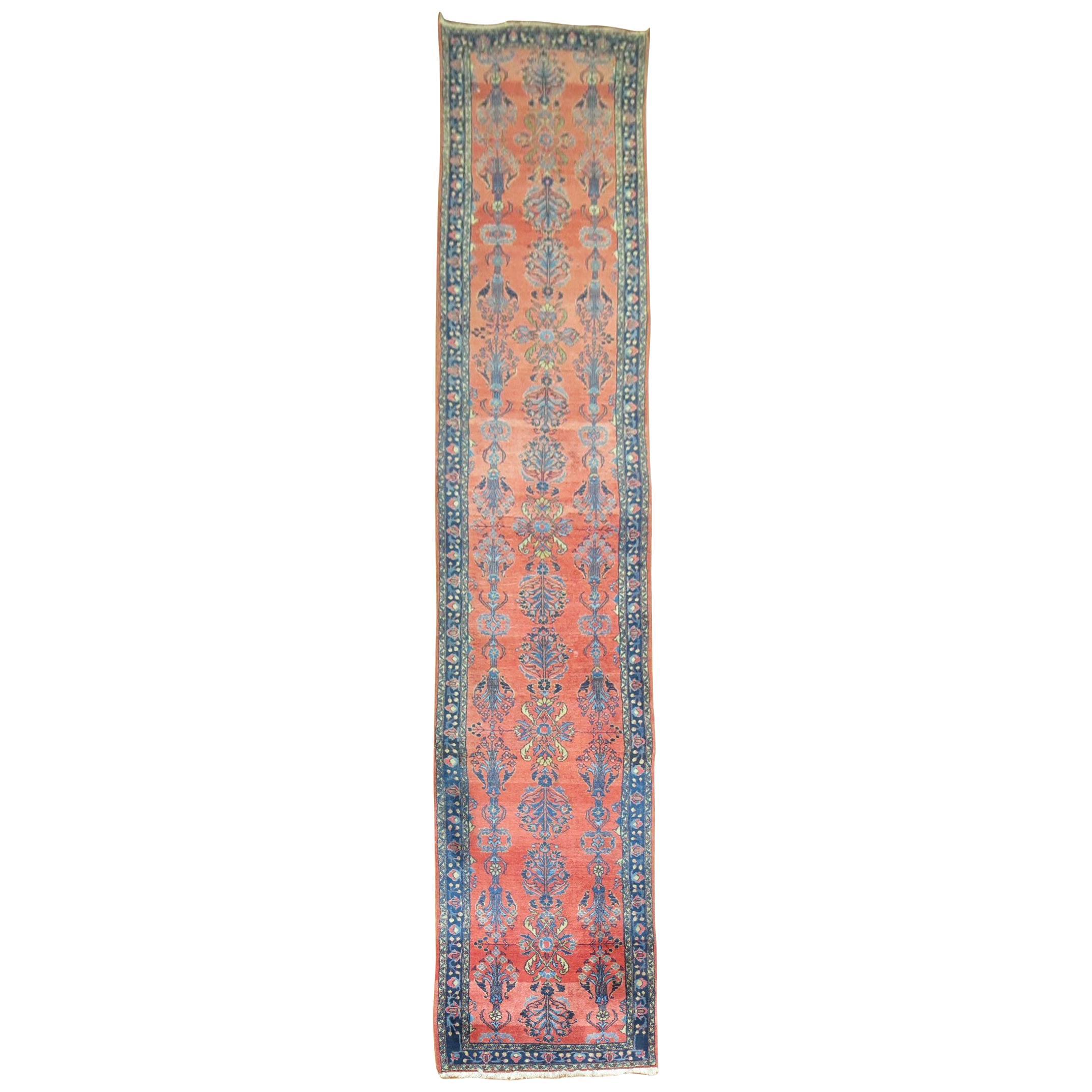 Long Traditional Antique Persian Sarouk Runner
