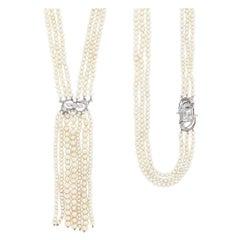Long Triple Strand Pearl, Platinum, Gold and Diamond Fringe Sautoir