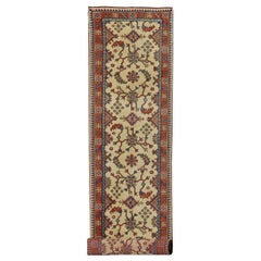 Long Turkish Oushak Runner with All-Over Design in Cream, Coral Red and Blue