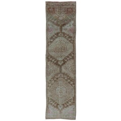 Long Turkish Runner with Medallion Design in Wheat, Brown, Ivory & L.Lavender