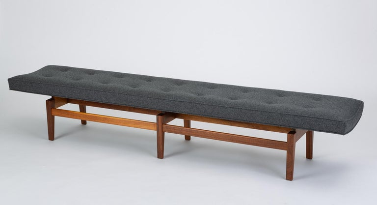 American Long Upholstered Bench by Jens Risom For Sale