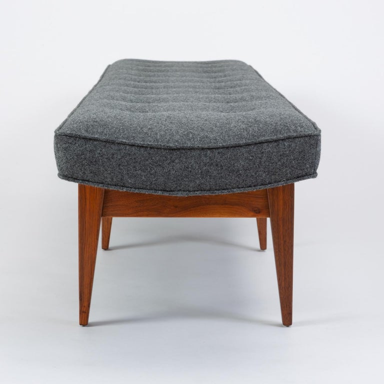 Wool Long Upholstered Bench by Jens Risom For Sale