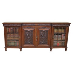 Long Victorian Carved Walnut Bookcase by Maple and Co.