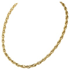 Long Victorian Etched Yellow Gold Chain Necklace