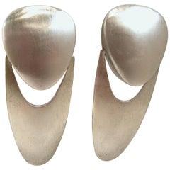 Long Vintage 1970s Modern Drop Earrings