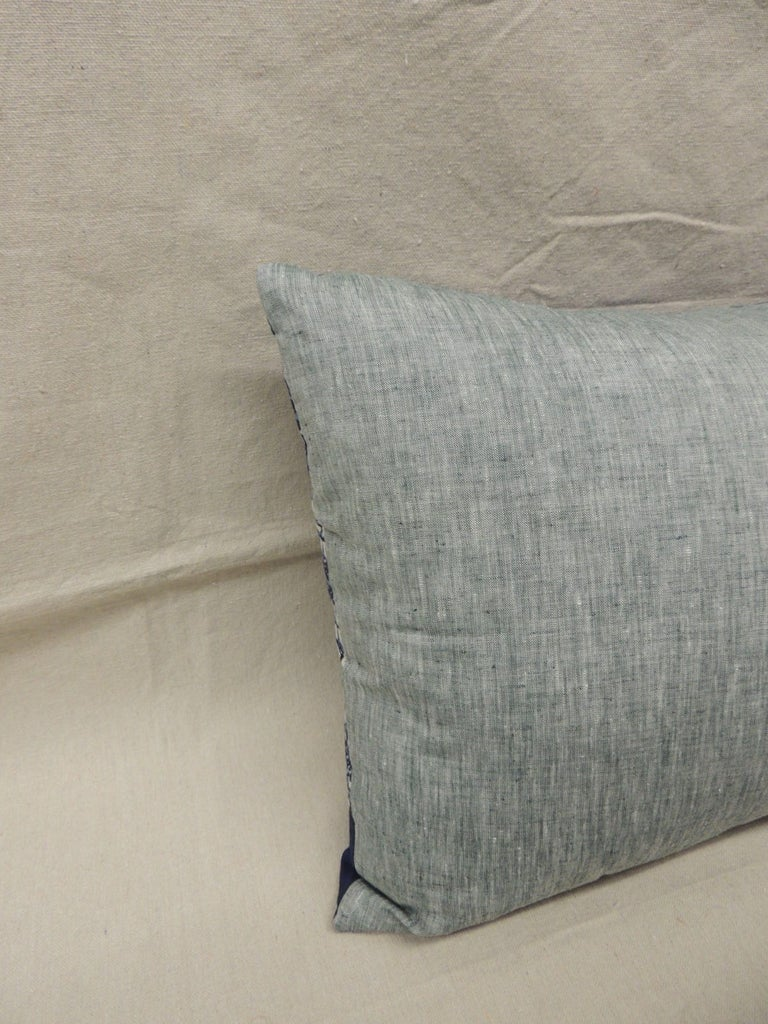 Anglo Raj Long Vintage Blue and White Hand-Blocked Indian Batik Bolster Pillow For Sale