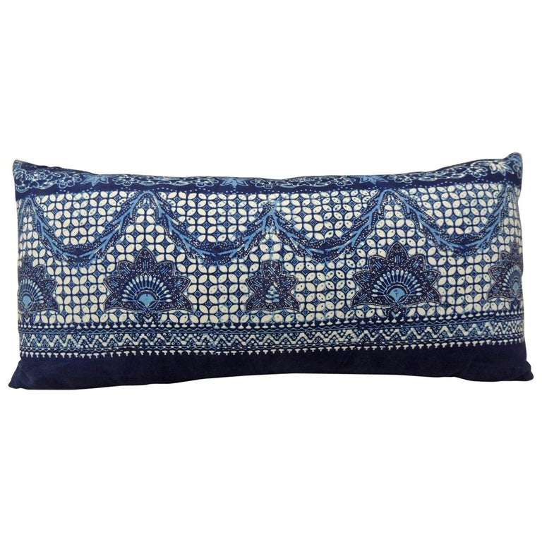 Long Vintage Blue and White Hand-Blocked Indian Batik Bolster Pillow For Sale