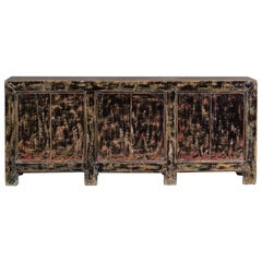 Long Vintage Chinese Painted Lacquer Buffet Credenza, circa 1940