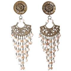 Long Vintage Faux Angel Coral Dangling Bead Earrings