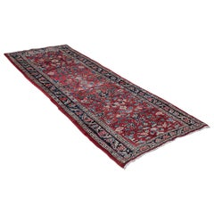 Long, Vintage Hamadan Runner, Persian, Hallway, Rug, Carpet, Mid-20th Century