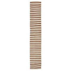 Long Vintage Kilim Runner with Brown and Ivory Stripes
