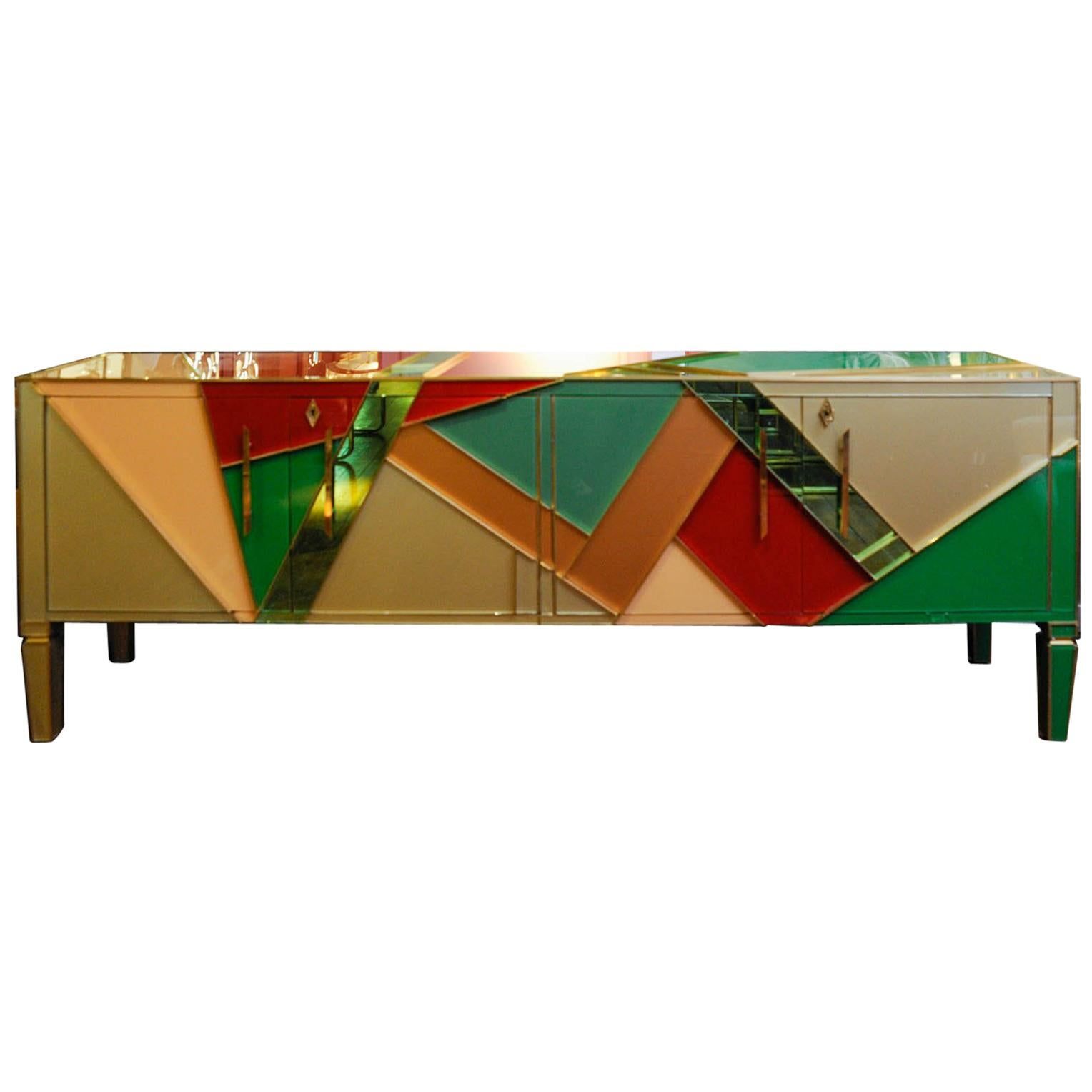 Long Vintage Mirror Buffet Customized by Studio Glustin at cost price
