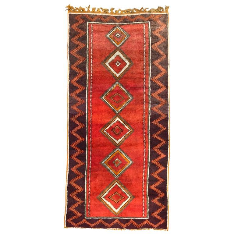 Long Vintage Moroccan Berber Rug Tribal Morocco Antique