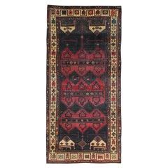 Long Vintage Runner Rug Handwoven Oriental Carpet Red Blue Rug