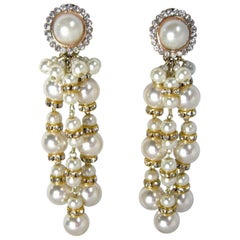 Long Vintage Signed DeMario Faux Pearl Dangling Earrings
