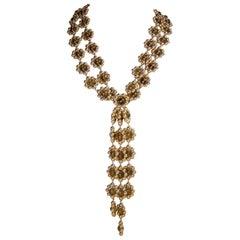 Long Vintage Unusual 2-Strand Drop Necklace
