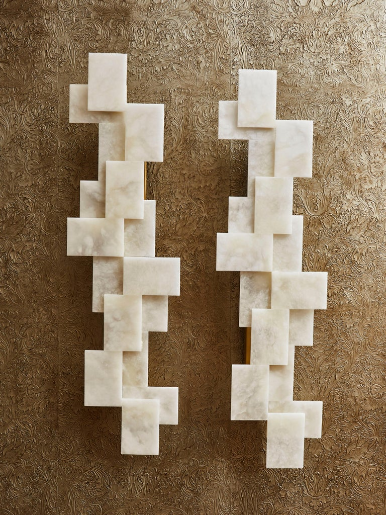 Mid-Century Modern Long Wall Sconces in Alabaster by Studio Glustin For Sale