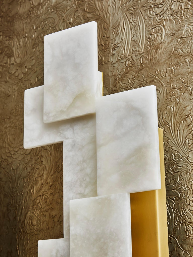 Brass Long Wall Sconces in Alabaster by Studio Glustin For Sale