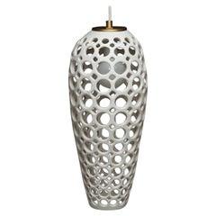 Long White Pierced Ceramic Teardrop Pendant Light, in Stock